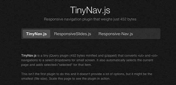 Javascript plugin TinyNav