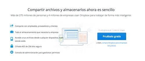 Servicio para mantener organizado tu negocio online: Dropbox
