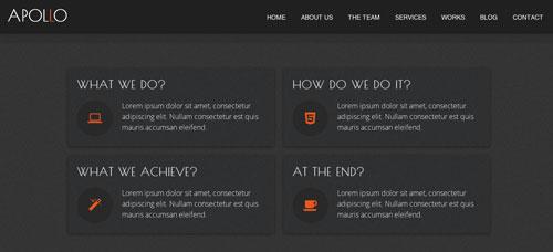 Plantillas HTML inspiradas en el Flat Design: Apollo