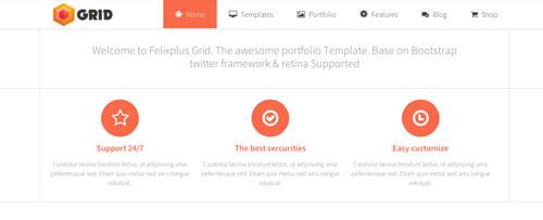 Plantillas HTML inspiradas en el Flat Design: Grid