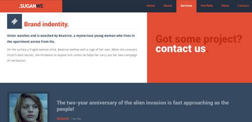 Plantillas HTML inspiradas en el Flat Design:  SuganWe