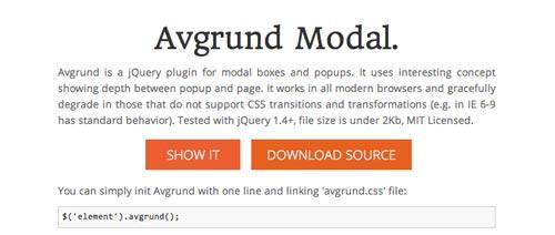 Plugin JQuery para añadir ventanas modales Avgrund  Modal