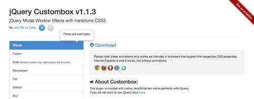 Plugin JQuery para añadir ventanas modales JQuery Custombox