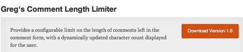 Plugin WordPress Greg's Comment Length Limiter
