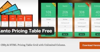 Plugin Wordpress para incorporar tablas de precio Kento Pricing Table