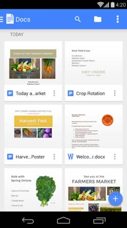 Programas para Android gratuitos para bloggers: Google Docs