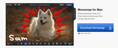 Programas para Mac para grabaciones de pantalla: Monosnap