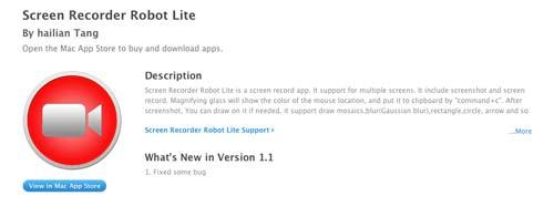 Programas para Mac para grabaciones de pantalla: Screen Recorder Robot Lite