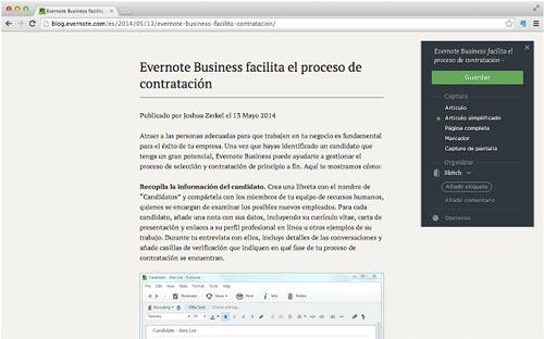 Extensiones Google Chrome para administradores WordPress: Evernote Web Clipper