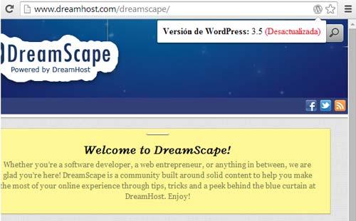 Extensiones Google Chrome: WordPress Version Check