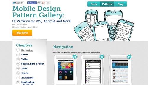 Web con patrones de interfaz de usuario: Mobile Design Pattern Gallery