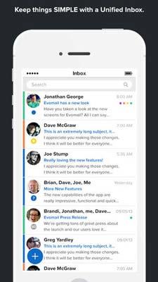 iOS app para correos: Evomail