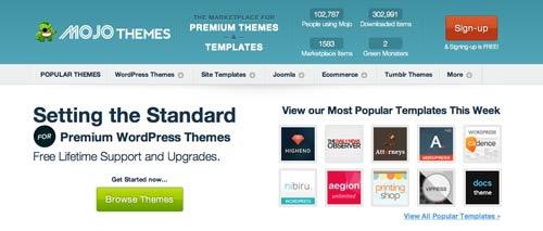 Mercado online para temas WordPress: Mojo Themes