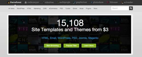Mercado online para temas WordPress: Theme Forest