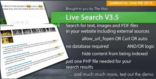 PHP script para incorporar sistema de búsqueda: Live Search