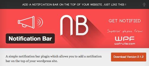 Plugin WordPress para añadir barras de notificación:  Notification Bar