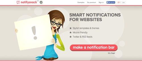 Plugin WordPress para añadir barras de notificación:  NotifySnack