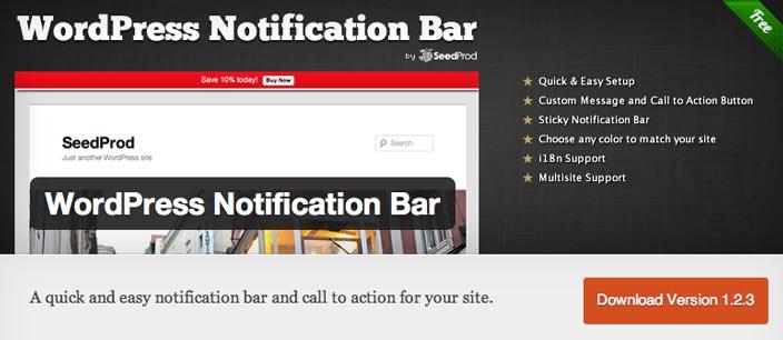 Plugin WordPress para añadir barras de notificación:  WordPress Notification Bar