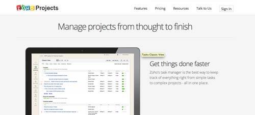 Programa para gestión de proyectos animados: Zoho Projects