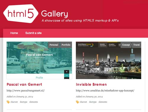 Sitios web donde encontrar ideas inspiradoras: HTML5 Gallery
