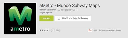 Aplicaciones moviles para viajeros: aMetro