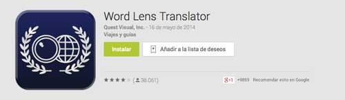 Aplicaciones moviles para viajeros: World Lens Translator