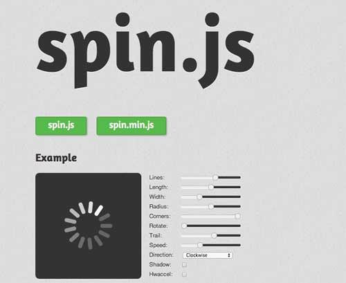 Codigo CSS para animaciones de carga:  Spin.JS