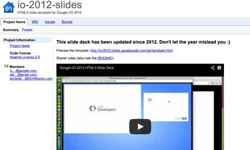 Herramienta basada en codigo HTML para presentación de diapositivas: I/O 2012 Slides