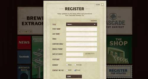 Formulario web de Cascade Brewery Co