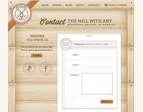 Formulario web de Vector Mill