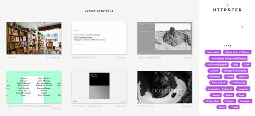 Galería con las mejores paginas web:  Httpster
