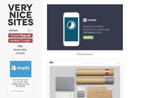 Galería con las mejores paginas web:  Very Nice Sites