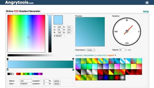 Generador de gradiente CSS: Angry Tools Online Gradient Generator