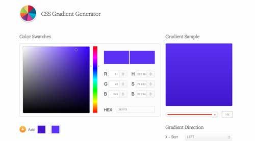 Generador de gradiente CSS: CSS3Factory Gradient Generator