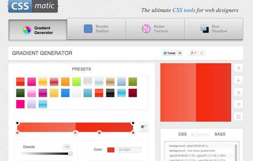 Generador de gradiente CSS: CSSMatic Gradient Generator