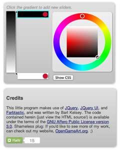 Generador de gradiente CSS: OpenGameArt Gradient Generator