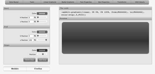 Generador de gradiente CSS: Westciv CSS Gradients