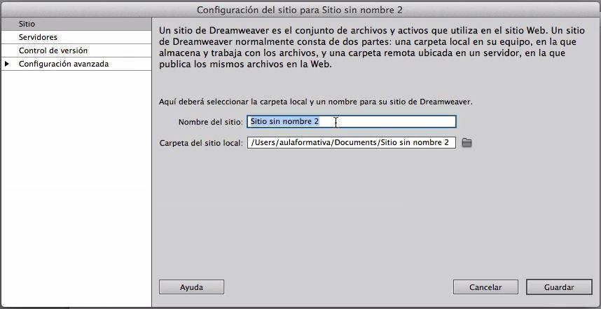Dreamweaver CC - Configuración del sitio