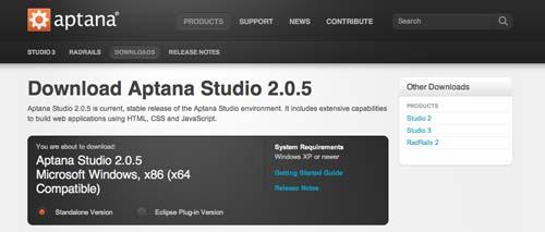 Útiles programas para Windows para desarrolladores web: Aptana