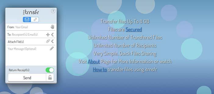 Servicio para enviar archivos pesados: Itrnsfr