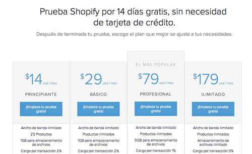Ejemplo de tabla HTML de precios: Shopify