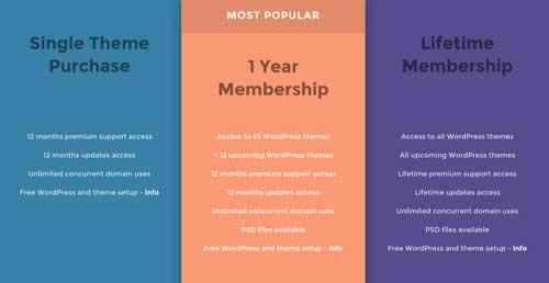 Ejemplo de tabla HTML de precios: Themes Kingdom
