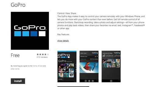 Aplicaciones para Windows Phone: GoPro