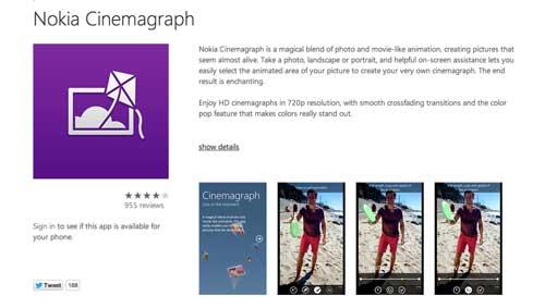 Aplicaciones para Windows Phone: Nokia Cinemagraph