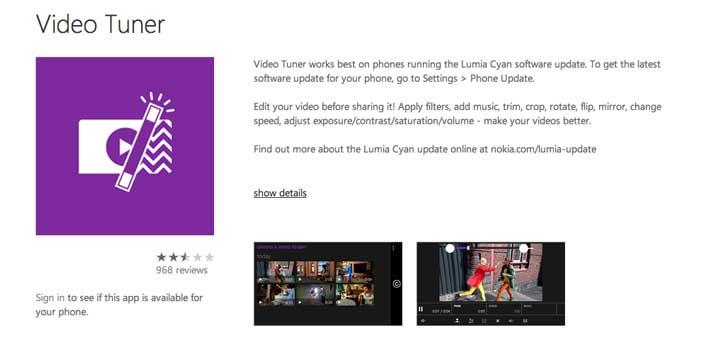 Aplicaciones para Windows Phone: Video Tuner