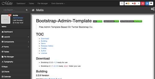 Bootstrap theme para panel de administración: Metis