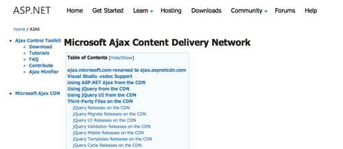 Listado de Content Delivery Network públicas: Microsoft Ajax Content Delivery Network