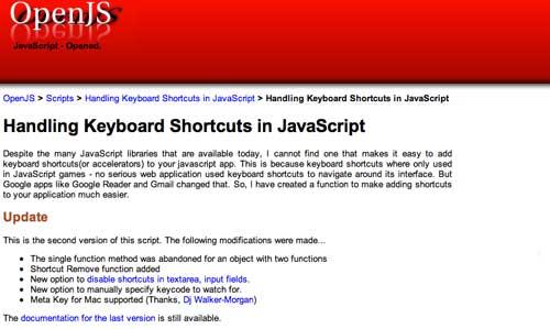 Librería JavaScript plugin para implementar atajos de teclado: OpenJS