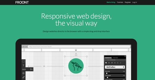 Las mejores paginas web con uso de color verde: Froont