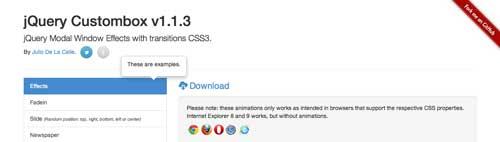 Plugin JQuery para añadir efectos CSS3: Custombox